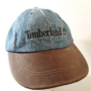 Timberland Vtg Rare Denim Leather Brim Cap